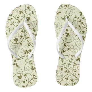 Elegant green floral Pattern Design Flip Flops
