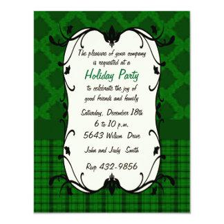"Elegant Green Floral & Plaid Holiday Invitation 4.25"" X 5.5"" Invitation Card"