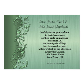 Elegant Green Florid Wedding Design 13 Cm X 18 Cm Invitation Card