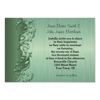 Elegant Green Florid Wedding Design 13 Cm X 18 Cm Invitation Card