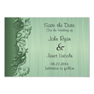 Elegant Green Florid Wedding Design 9 Cm X 13 Cm Invitation Card