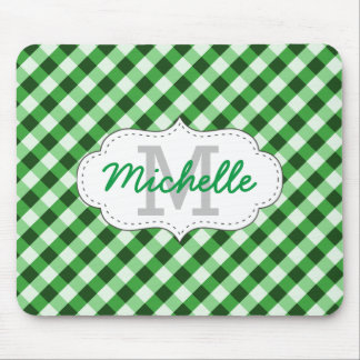Elegant Green Gingham Pattern Personalized Name Mouse Mat