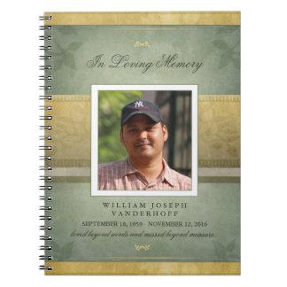 Elegant Green & Gold Memorial Funeral Guest Book Spiral Notebook