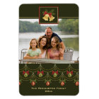 Elegant green gold merry christmas photo magnet