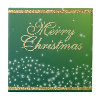 Elegant Green Gold Merry Christmas Stars Sparkle Tiles