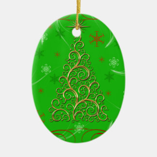 Elegant Green Gold Swirls Christmas Tree Ornament