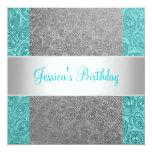 Elegant Green Grey Paisley White Birthday Party 13 Cm X 13 Cm Square Invitation Card