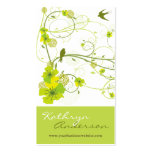 Elegant Green Hibiscus Floral Swirl Swallows Birds Pack Of Standard Business Cards