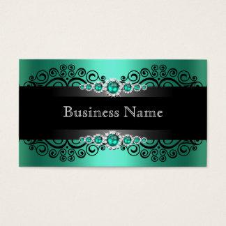 Elegant Green Jade Black Pearl Business Card