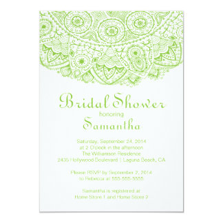 Elegant Green Lace Bridal Shower Invitation