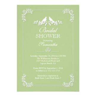 Elegant Green Love Birds Bridal Shower Invitation