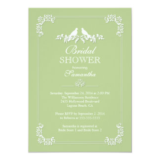 Elegant Green Love Birds Bridal Shower 5x7 Paper Invitation Card