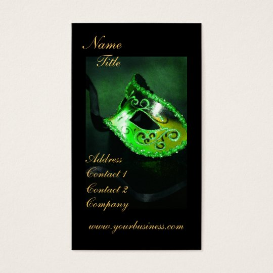 Elegant Green Masquerade Mask Business Card