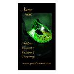 Elegant Green Masquerade Mask Business Card