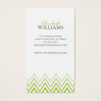 Elegant Green Ombre Chevron Stripes Business Card