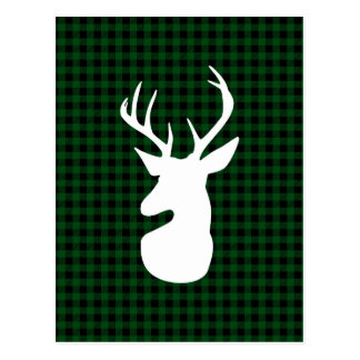 Elegant Green Plaid Deer Design Postcard