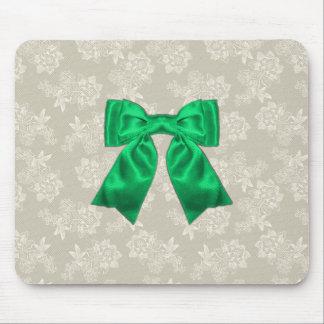 Elegant Green Ribbon on Lace Mousepad