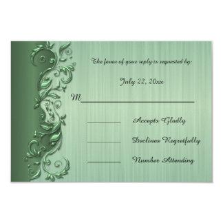 Elegant Green & Silver Florid Wedding Design 9 Cm X 13 Cm Invitation Card