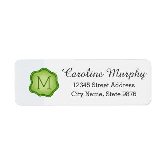 Elegant Green Stamp Monogram on Snow White Return Address Label