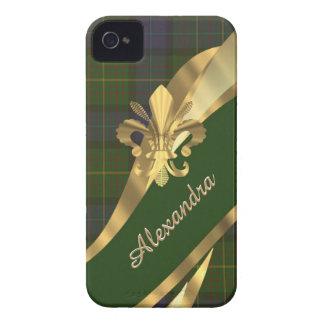 Elegant green tartan plaid personalized iPhone 4 case
