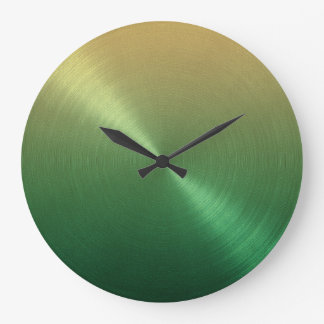 Elegant Green to Gold Ombre Gradient Wallclocks