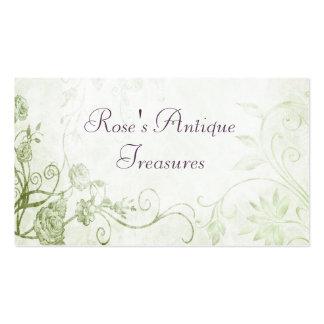 Elegant Green Vintage Flower Shop Business Card Template