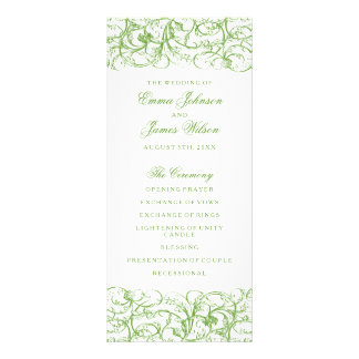 Elegant green vintage swirls wedding program rack card