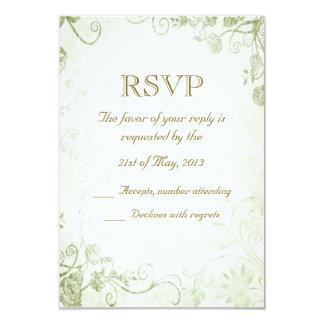 Elegant Green Vintage Wedding RSVP Card 9 Cm X 13 Cm Invitation Card