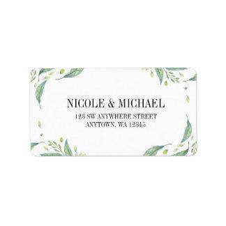 Elegant Green Watercolor Foliage Leaf Wreath Address Label