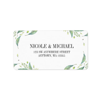 Elegant Green Watercolor Foliage Leaf Wreath Label