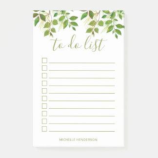 Elegant Greenery Botanical Wedding To Do List Post-it Notes