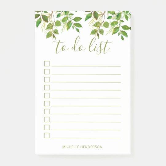 Elegant Greenery Botanical Wedding To Do List Post-it