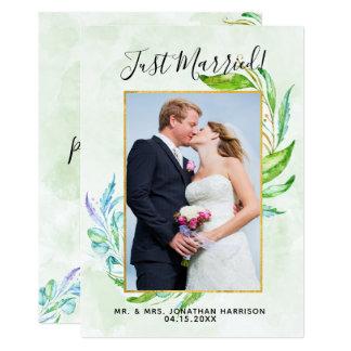 Elegant Greenery Foliage Just Married Reception Card