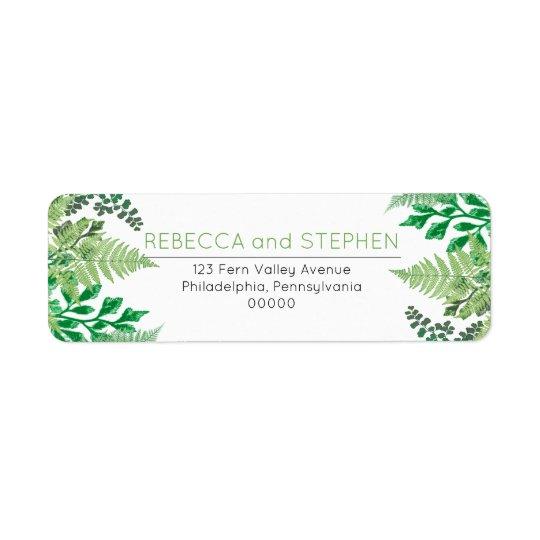 Elegant Greenery | Wild Ferns Wedding Return Address Label