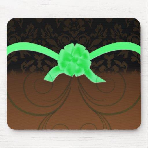 Elegant greenish ribbon birthday gift mousepads