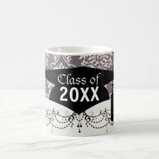 elegant grey and ivory ornate damask graduation classic white coffee mug