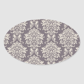 elegant grey and ivory ornate damask pattern oval stickers