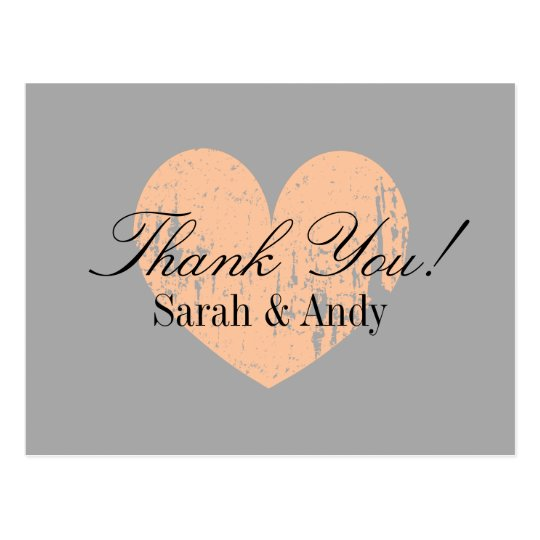 Elegant grey and peach wedding thank you postcards