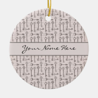 Elegant Grey and Pink Vintage Keys Christmas Ornament