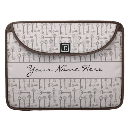 Elegant Grey and Pink Vintage Keys Sleeve For MacBook Pro