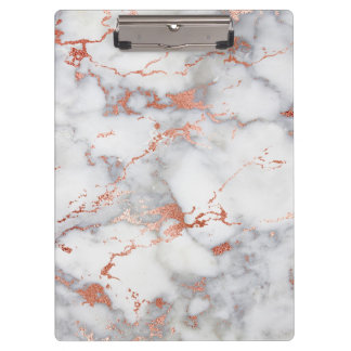 elegant grey and rose gold marble pattern clipboard