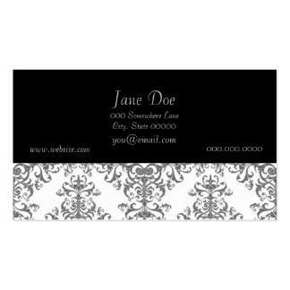 Elegant Grey and White Floral Damask Victorian Art Business Card Template
