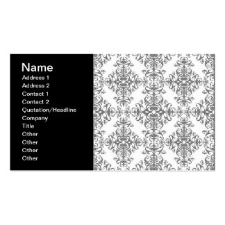 Elegant Grey and White Floral Damask Victorian Art Business Card