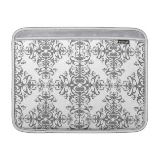 Elegant Grey and White Floral Damask Victorian Art MacBook Sleeve