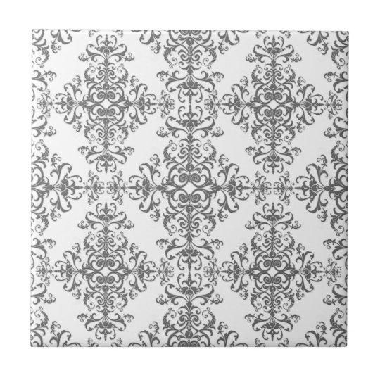 Elegant Grey and White Floral Damask Victorian Art