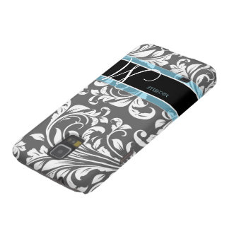 Elegant Grey and white floral damask w/ monogram Cases For Galaxy S5