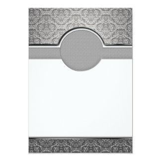 Elegant Grey and White swirls 13 Cm X 18 Cm Invitation Card