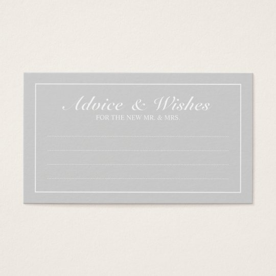 Elegant Grey and White Wedding Advice and Wishes