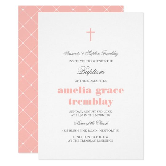 Elegant Grey & Blush Pink Cross Baptism Card