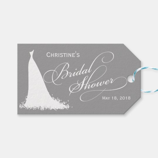 Elegant Grey Bride Bridal Shower Favour Gift Tags